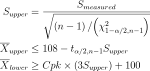 calculation of S_upper, X-bar_upper, X-bar_lower